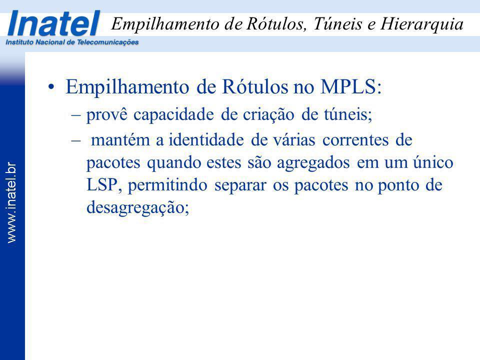 www.inatel.br Empilhamento de Rótulos, Túneis e Hierarquia Empilhamento de Rótulos no MPLS: –provê capacidade de criação de túneis; – mantém a identid