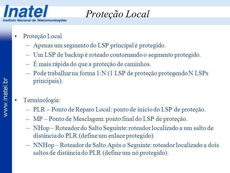 www.inatel.br Proteção Local –Apenas um segmento do LSP principal é protegido. –Um LSP de backup é roteado contornando o segmento protegido. –É mais r