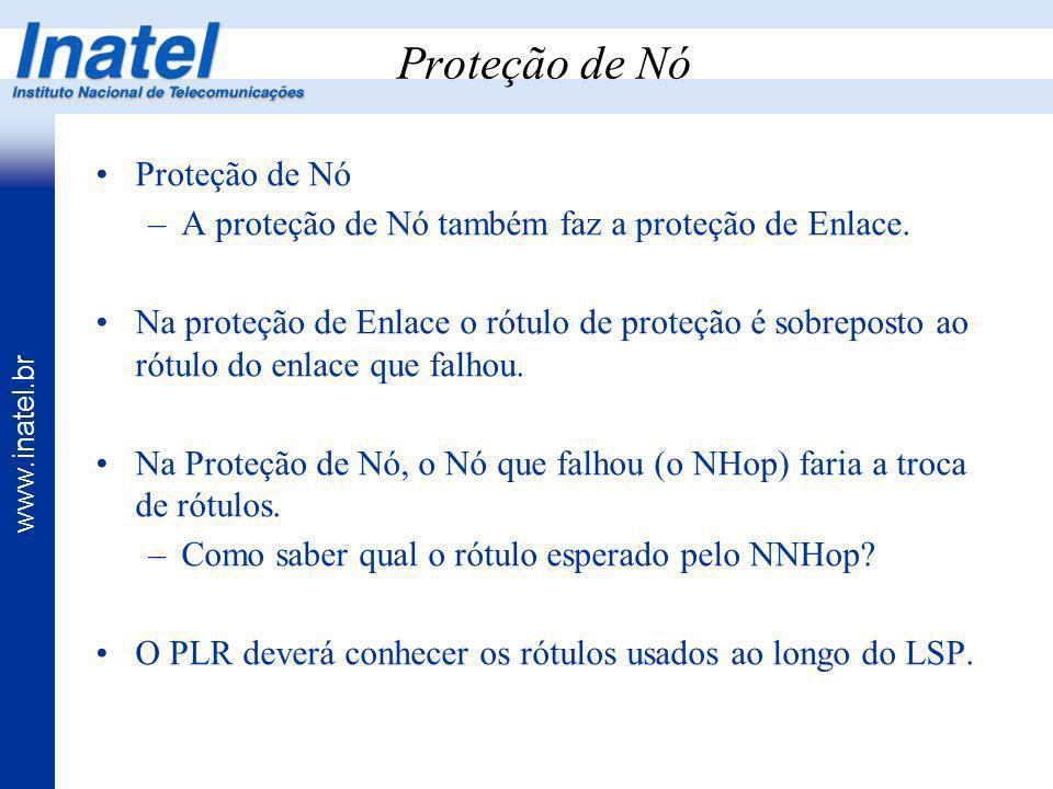 www.inatel.br Proteção de Nó –A proteção de Nó também faz a proteção de Enlace. Na proteção de Enlace o rótulo de proteção é sobreposto ao rótulo do e