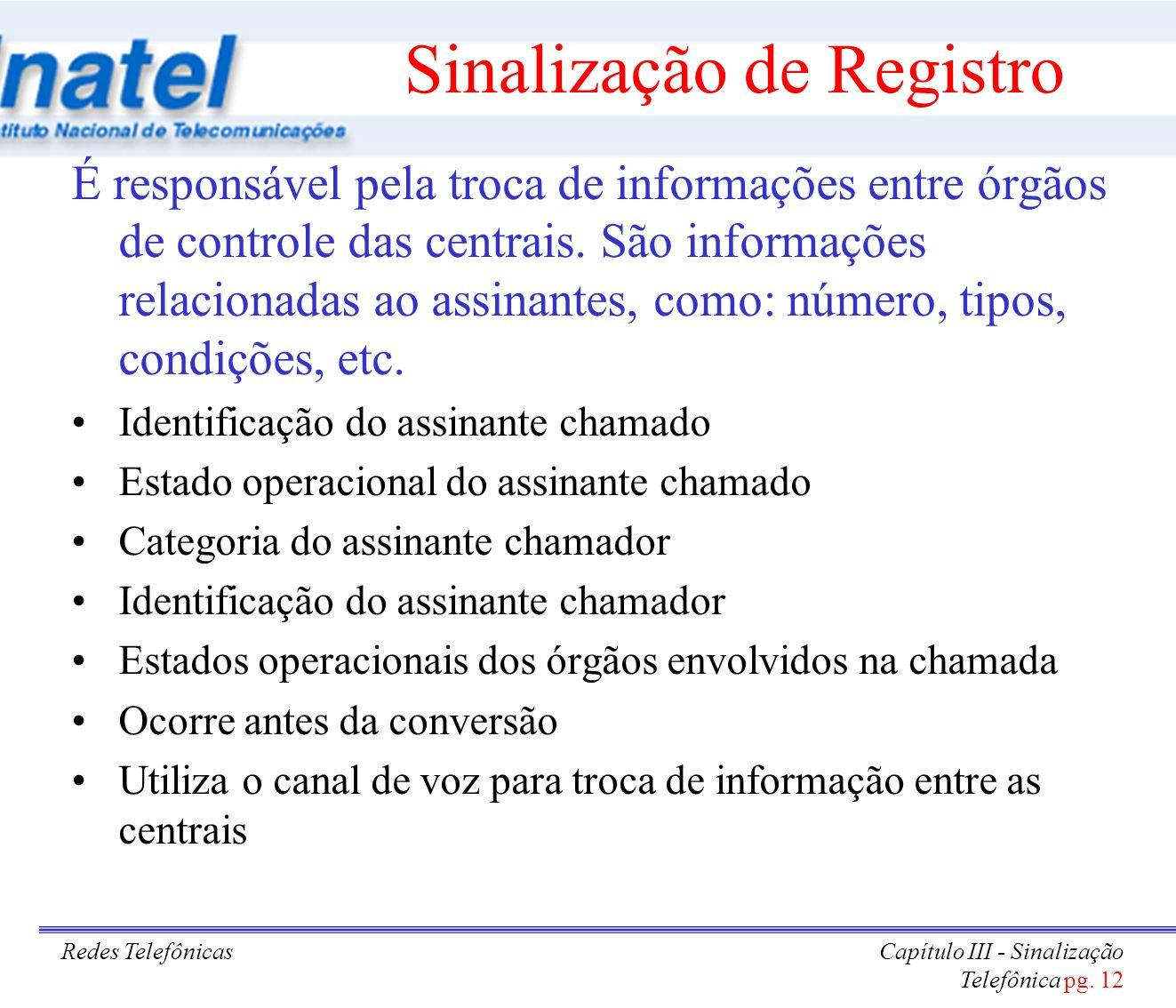 Redes TelefônicasCapítulo III - Sinalização Telefônica pg. 12 Sinalização de Registro É responsável pela troca de informações entre órgãos de controle