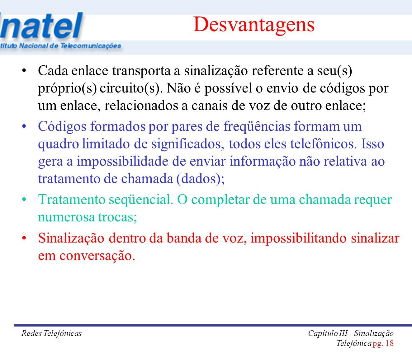 Redes TelefônicasCapítulo III - Sinalização Telefônica pg. 18 Desvantagens Cada enlace transporta a sinalização referente a seu(s) próprio(s) circuito