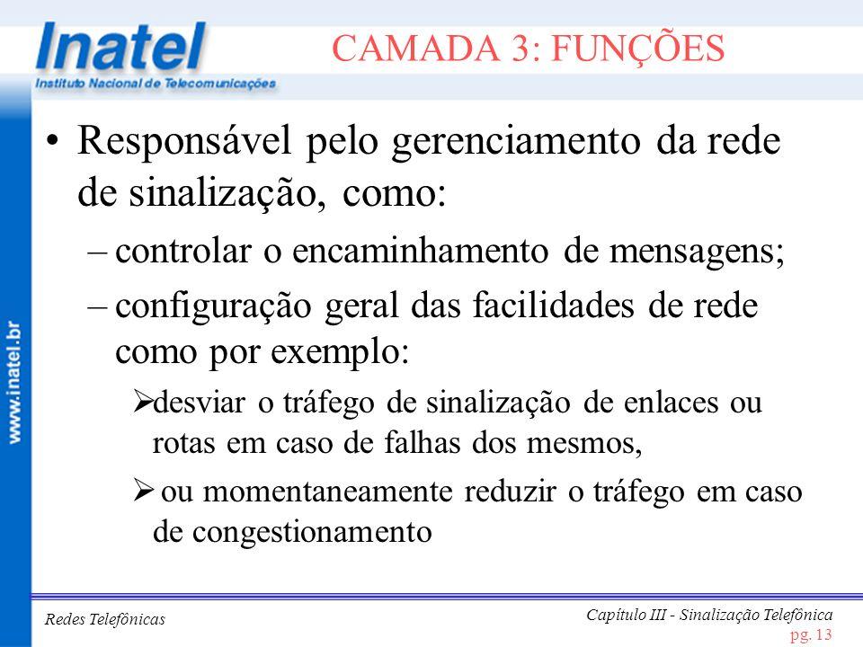 Redes Telefônicas Capítulo III - Sinalização Telefônica pg. 13 CAMADA 3: FUNÇÕES Responsável pelo gerenciamento da rede de sinalização, como: –control