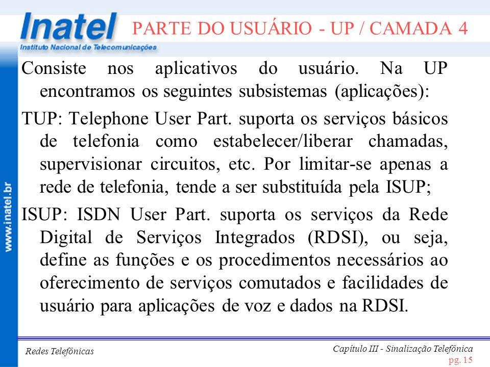 Redes Telefônicas Capítulo III - Sinalização Telefônica pg. 15 PARTE DO USUÁRIO - UP / CAMADA 4 Consiste nos aplicativos do usuário. Na UP encontramos