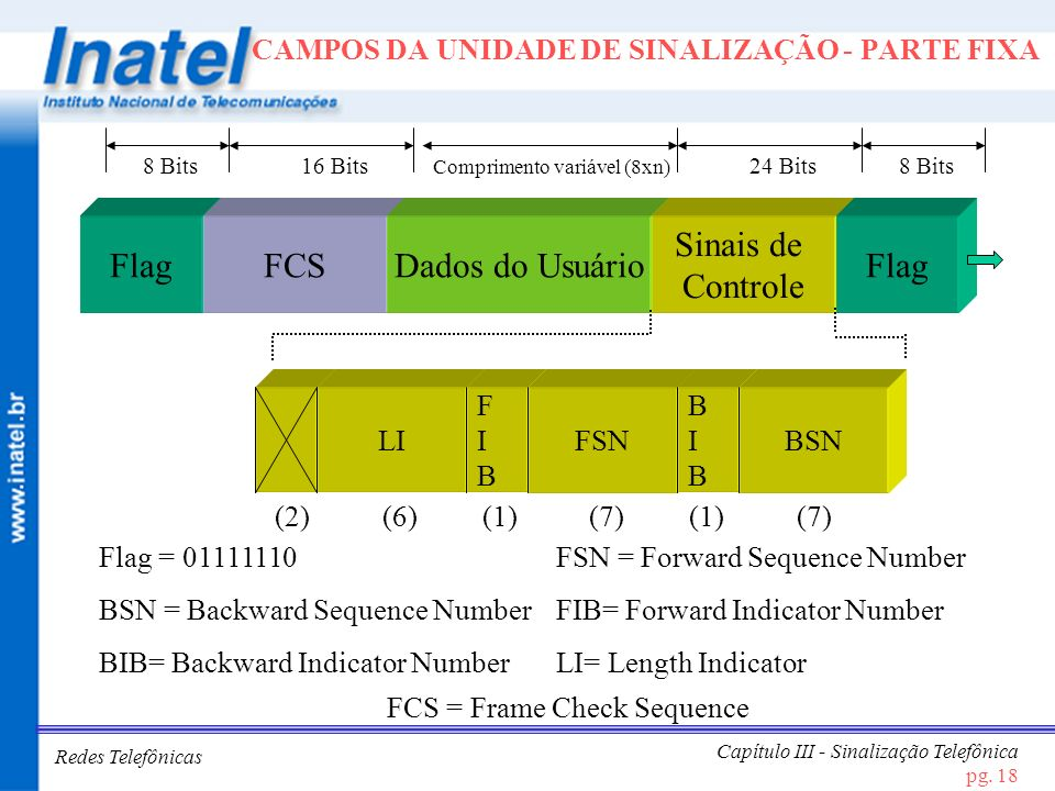 Redes Telefônicas Capítulo III - Sinalização Telefônica pg. 18 CAMPOS DA UNIDADE DE SINALIZAÇÃO - PARTE FIXA FlagFCSDados do Usuário Sinais de Control