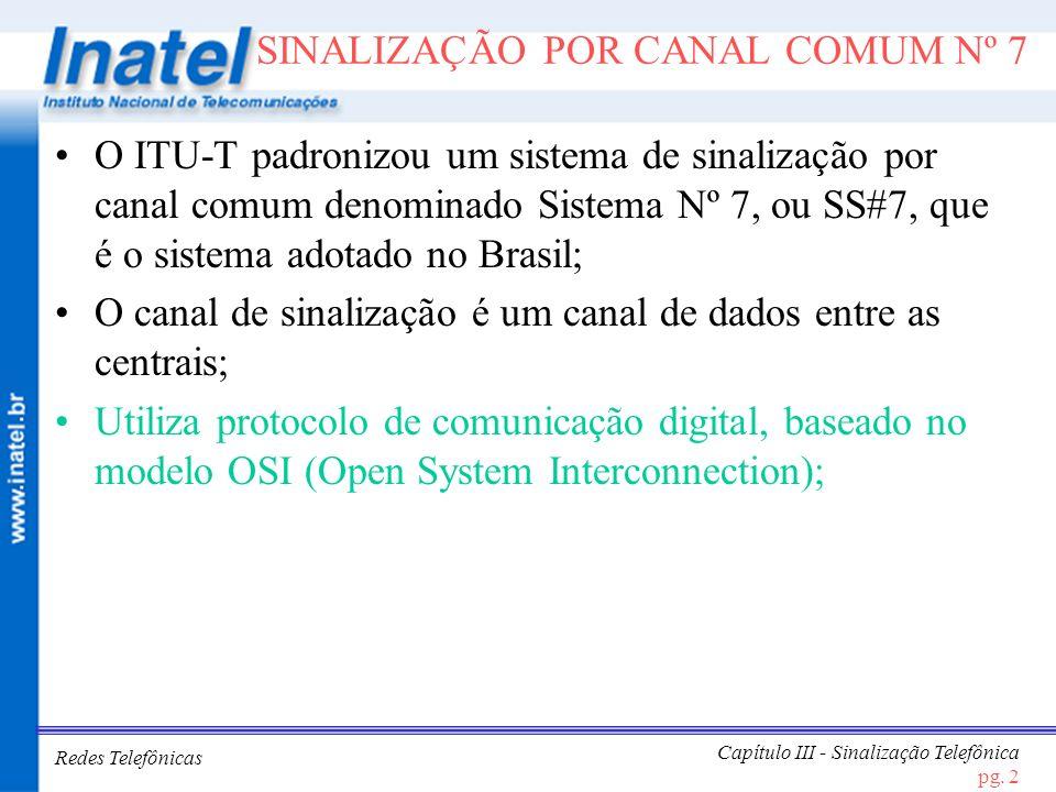 Redes Telefônicas Capítulo III - Sinalização Telefônica pg. 2 SINALIZAÇÃO POR CANAL COMUM Nº 7 O ITU-T padronizou um sistema de sinalização por canal