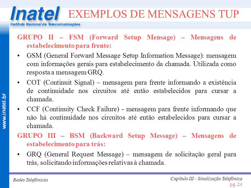Redes Telefônicas Capítulo III - Sinalização Telefônica pg. 24 EXEMPLOS DE MENSAGENS TUP GRUPO II – FSM (Forward Setup Mensage) – Mensagens de estabel