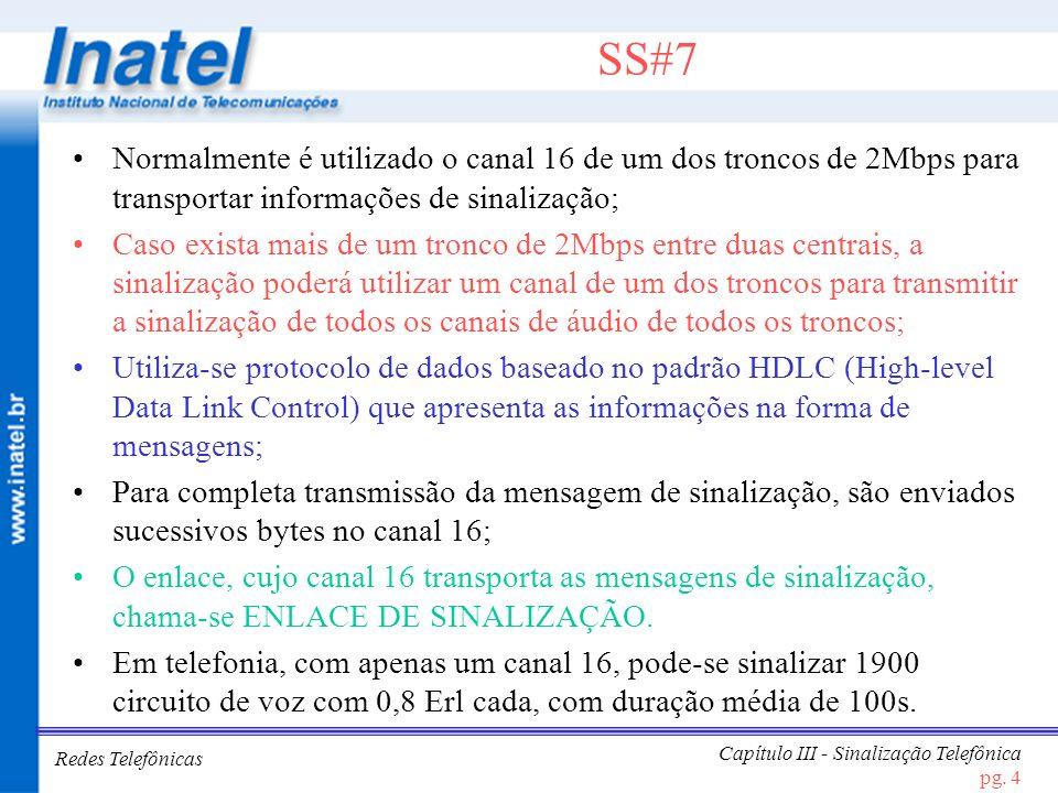 Redes Telefônicas Capítulo III - Sinalização Telefônica pg. 4 SS#7 Normalmente é utilizado o canal 16 de um dos troncos de 2Mbps para transportar info