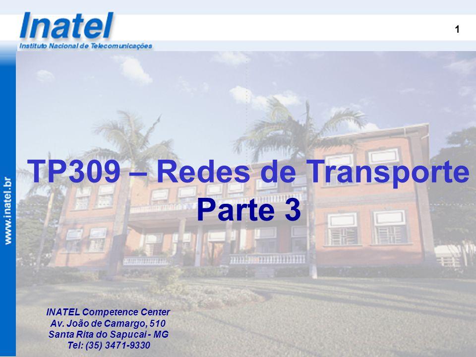 1 INATEL Competence Center Av. João de Camargo, 510 Santa Rita do Sapucai - MG Tel: (35) 3471-9330 TP309 – Redes de Transporte Parte 3