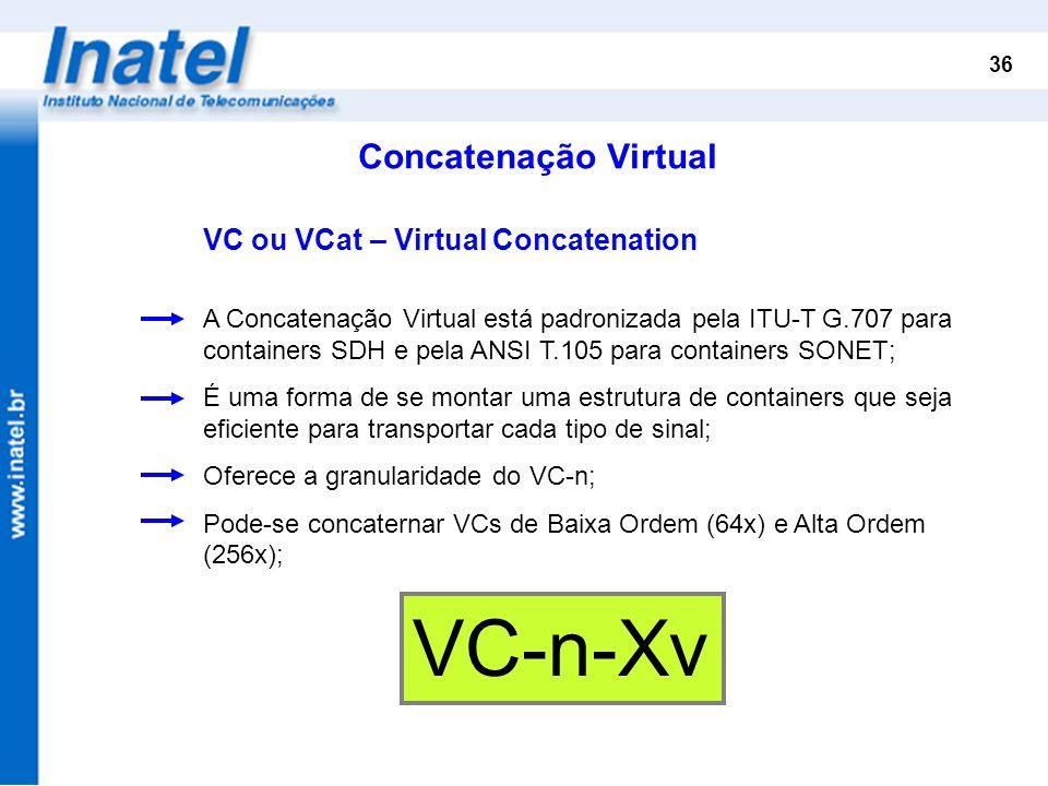 36 Concatenação Virtual VC ou VCat – Virtual Concatenation A Concatenação Virtual está padronizada pela ITU-T G.707 para containers SDH e pela ANSI T.