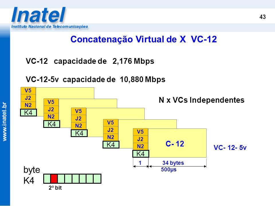 43 Concatenação Virtual de X VC-12 VC- 12- 5v N x VCs Independentes K4 N2 J2 V5 VC- 12 K4 N2 J2 V5 VC- 12 K4 N2 J2 V5 VC- 12 K4 N2 J2 V5 VC- 12 K4 N2