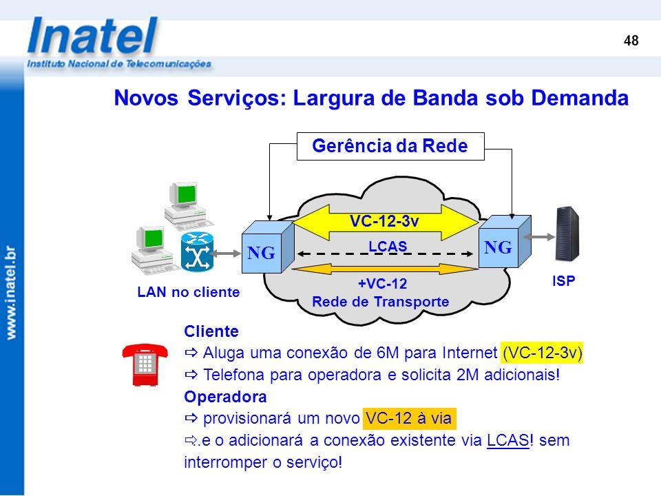 48 Cliente Aluga uma conexão de 6M para Internet (VC-12-3v) Telefona para operadora e solicita 2M adicionais! Operadora provisionará um novo VC-12 à v