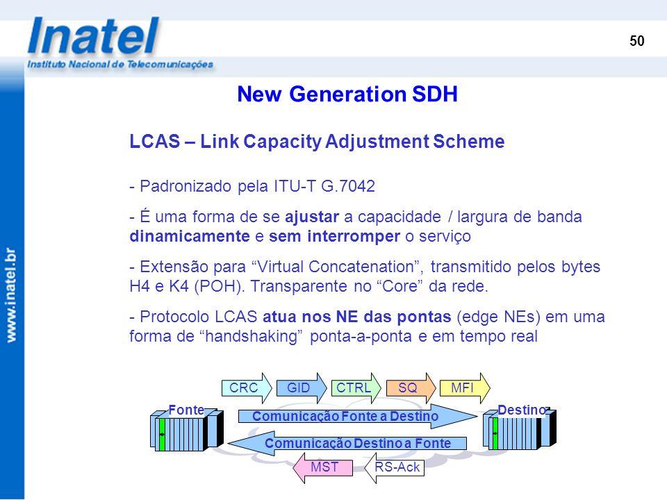 50 New Generation SDH LCAS – Link Capacity Adjustment Scheme - Padronizado pela ITU-T G.7042 - É uma forma de se ajustar a capacidade / largura de ban