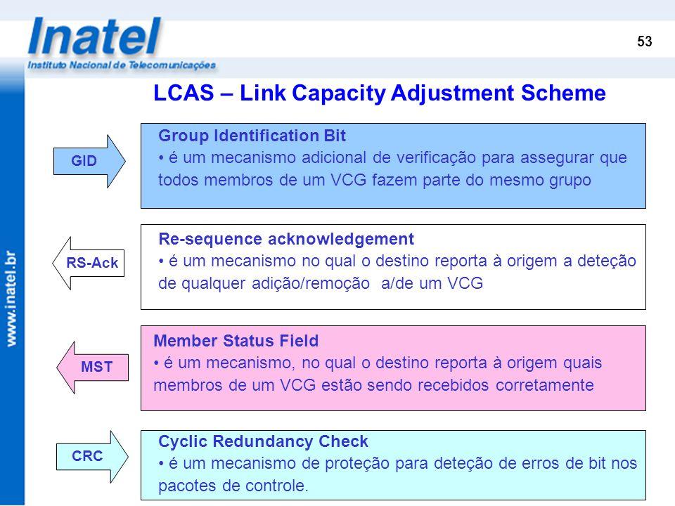 53 RS-ACKRS-ACK GID Group Identification Bit é um mecanismo adicional de verificação para assegurar que todos membros de um VCG fazem parte do mesmo g