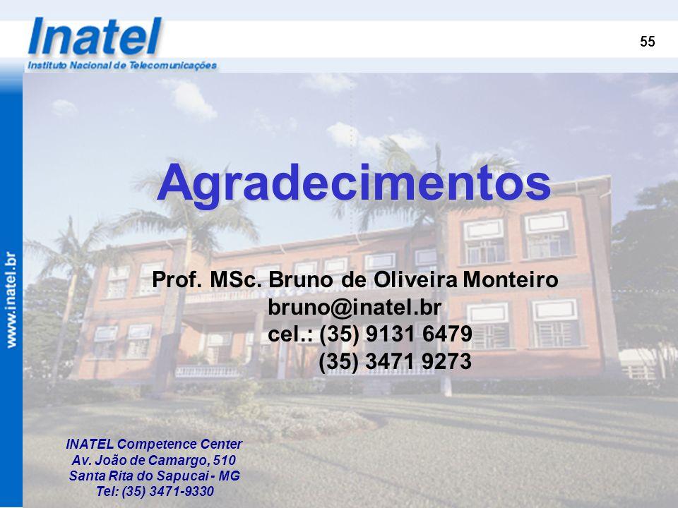 55 Agradecimentos Prof. MSc. Bruno de Oliveira Monteiro bruno@inatel.br cel.: (35) 9131 6479 (35) 3471 9273 INATEL Competence Center Av. João de Camar