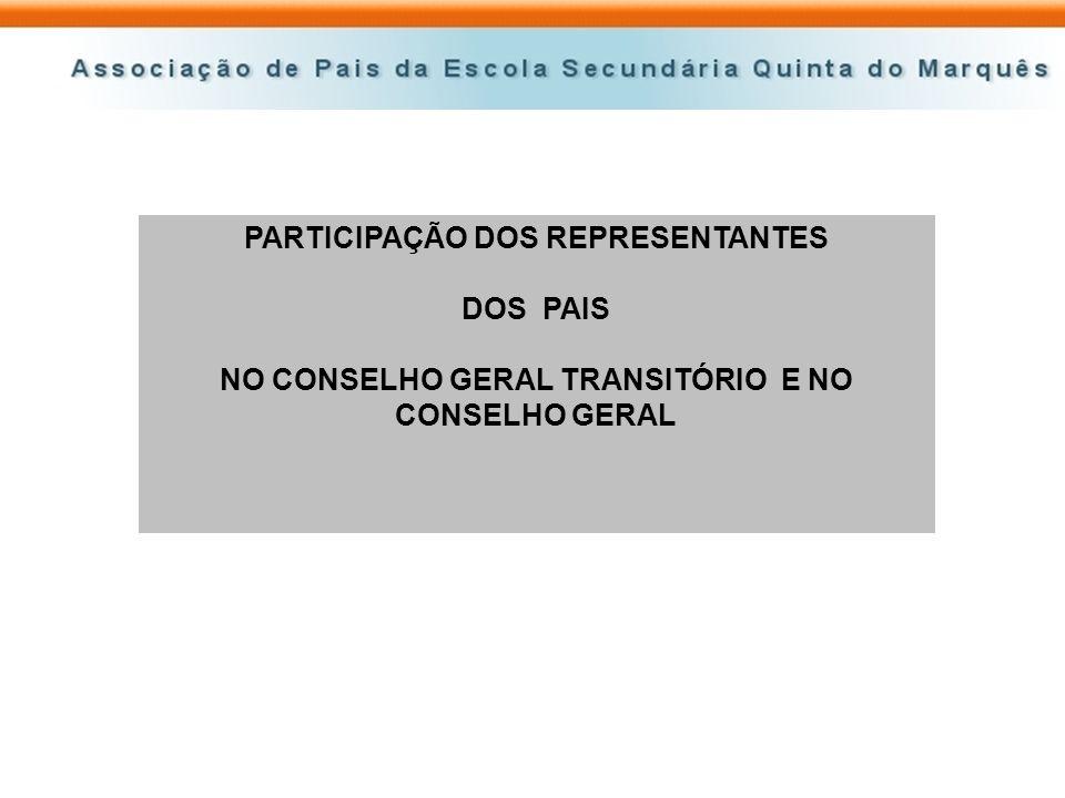 PARTICIPAÇÃO DOS REPRESENTANTES DOS PAIS NO CONSELHO GERAL TRANSITÓRIO E NO CONSELHO GERAL