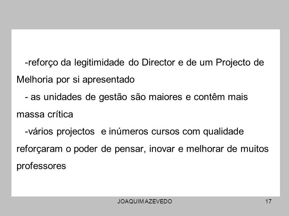 JOAQUIM AZEVEDO17 -reforço da legitimidade do Director e de um Projecto de Melhoria por si apresentado - as unidades de gestão são maiores e contêm ma