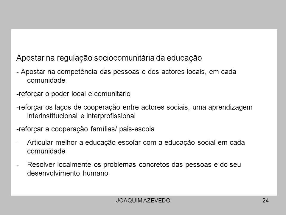JOAQUIM AZEVEDO24 Apostar na regulação sociocomunitária da educação - Apostar na competência das pessoas e dos actores locais, em cada comunidade -reforçar o poder local e comunitário -reforçar os laços de cooperação entre actores sociais, uma aprendizagem interinstitucional e interprofissional -reforçar a cooperação famílias/ pais-escola -Articular melhor a educação escolar com a educação social em cada comunidade -Resolver localmente os problemas concretos das pessoas e do seu desenvolvimento humano