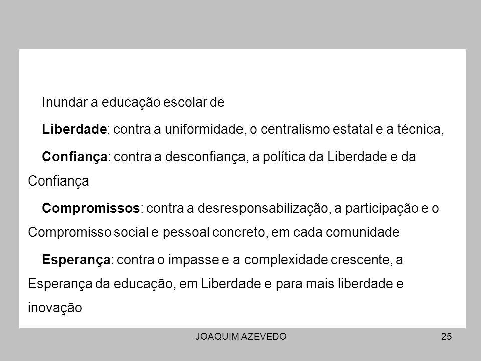 JOAQUIM AZEVEDO25 Inundar a educação escolar de Liberdade: contra a uniformidade, o centralismo estatal e a técnica, Confiança: contra a desconfiança,