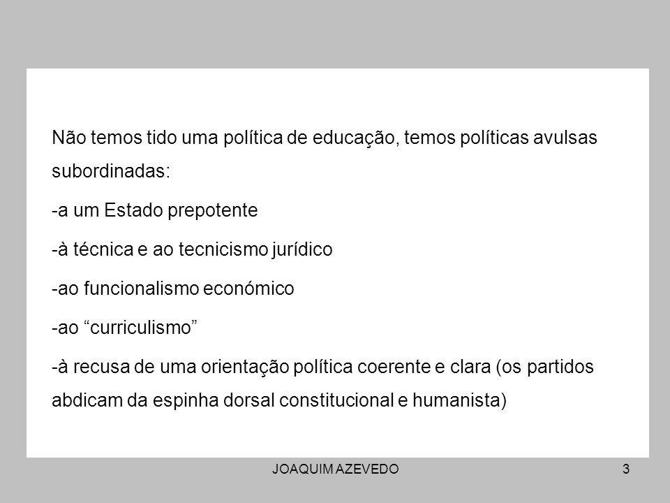 JOAQUIM AZEVEDO3 Não temos tido uma política de educação, temos políticas avulsas subordinadas: -a um Estado prepotente -à técnica e ao tecnicismo jur