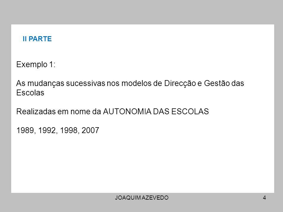 JOAQUIM AZEVEDO4 Exemplo 1: As mudanças sucessivas nos modelos de Direcção e Gestão das Escolas Realizadas em nome da AUTONOMIA DAS ESCOLAS 1989, 1992, 1998, 2007 II PARTE