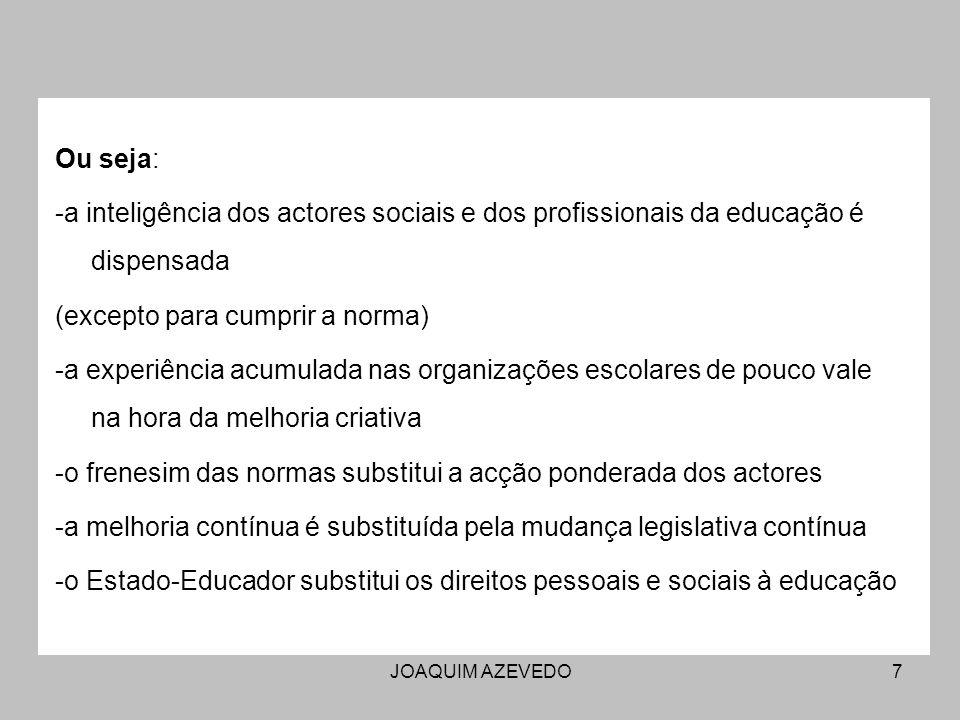 JOAQUIM AZEVEDO7 Ou seja: -a inteligência dos actores sociais e dos profissionais da educação é dispensada (excepto para cumprir a norma) -a experiênc