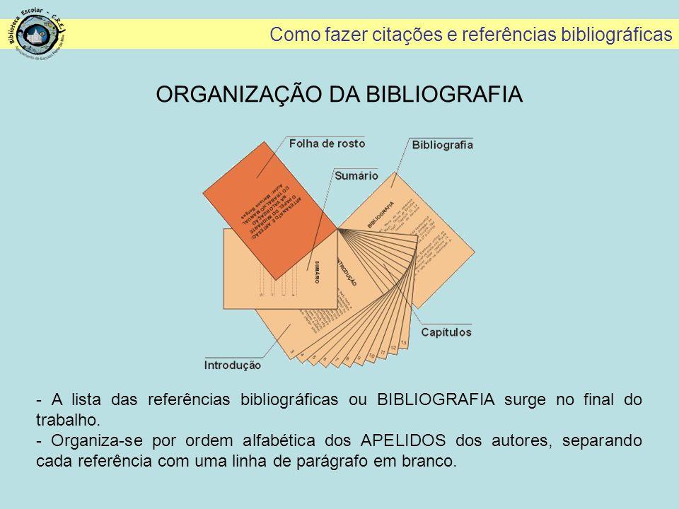 Como fazer citações e referências bibliográficas ORGANIZAÇÃO DA BIBLIOGRAFIA - A lista das referências bibliográficas ou BIBLIOGRAFIA surge no final d