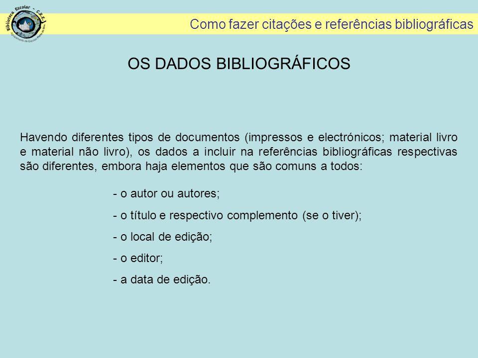Como fazer citações e referências bibliográficas NORMA BIBLIOGRÁFICA: CD-ROM A norma simplificada para os CD-ROM inclui os seguintes dados: AUTOR(es) (APELIDO, Nome) - Título [Documento electrónico].