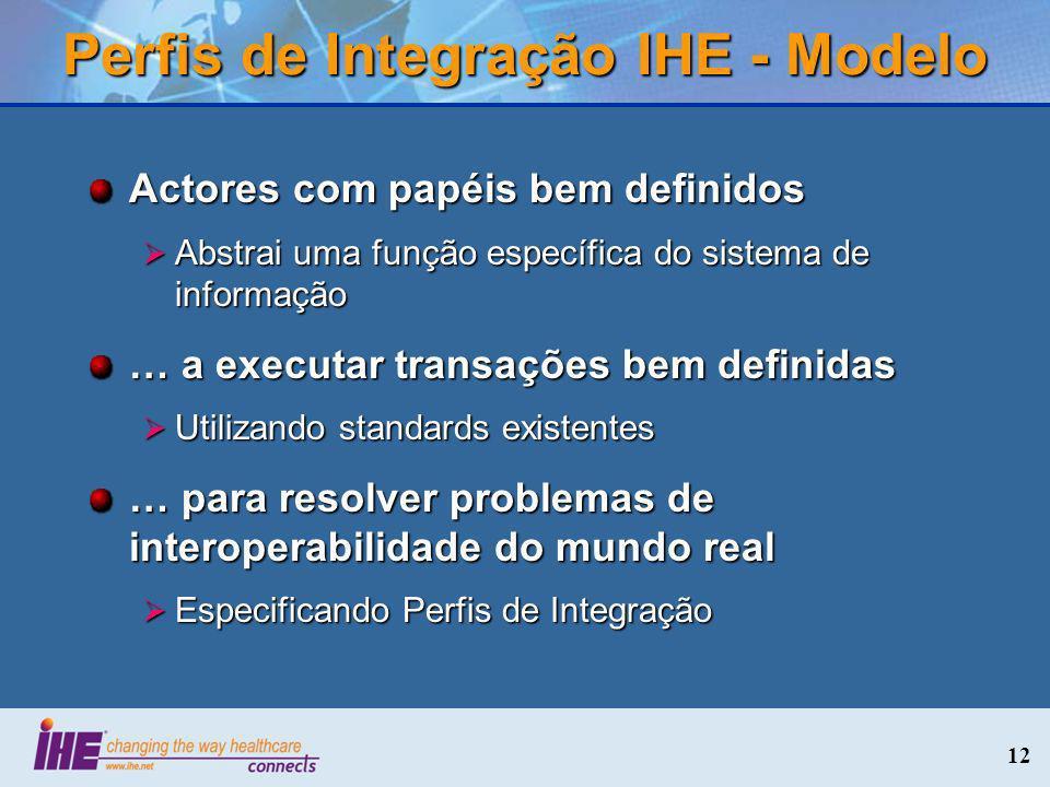 12 Perfis de Integração IHE - Modelo Actores com papéis bem definidos Abstrai uma função específica do sistema de informação Abstrai uma função especí
