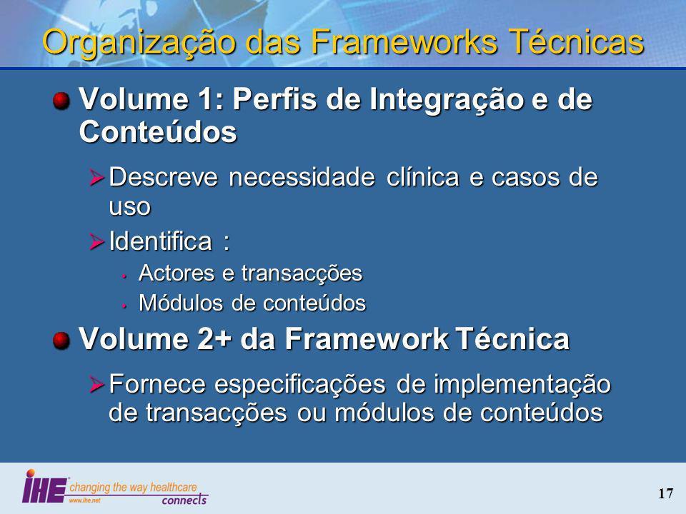 17 Organização das Frameworks Técnicas Volume 1: Perfis de Integração e de Conteúdos Descreve necessidade clínica e casos de uso Descreve necessidade