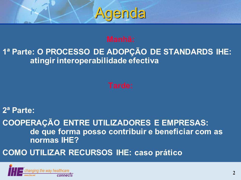 2 Agenda Manhã: 1ª Parte: O PROCESSO DE ADOPÇÃO DE STANDARDS IHE: atingir interoperabilidade efectiva Tarde: 2ª Parte: COOPERAÇÃO ENTRE UTILIZADORES E