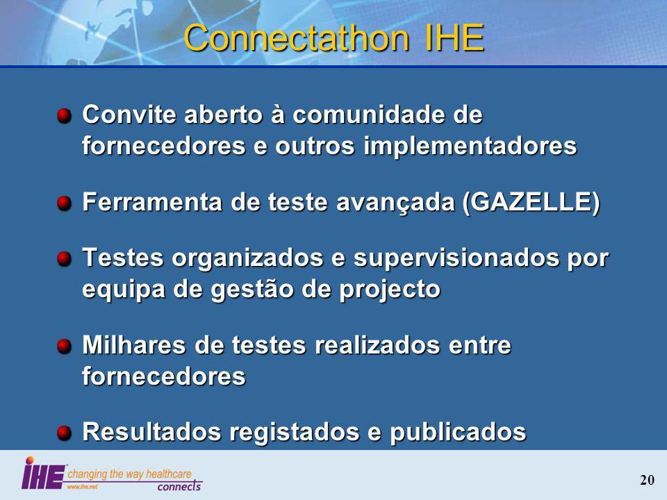 20 Connectathon IHE Convite aberto à comunidade de fornecedores e outros implementadores Ferramenta de teste avançada (GAZELLE) Testes organizados e s