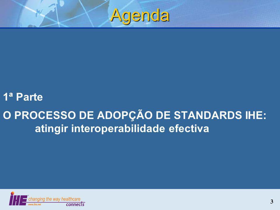 3 Agenda 1ª Parte O PROCESSO DE ADOPÇÃO DE STANDARDS IHE: atingir interoperabilidade efectiva