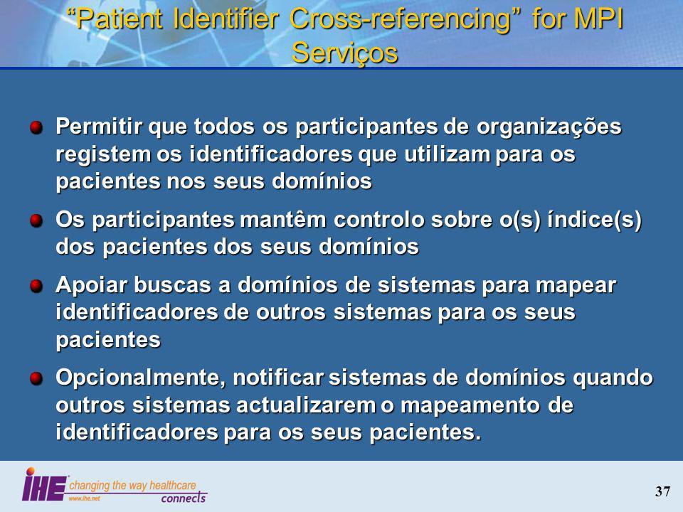 37 Patient Identifier Cross-referencing for MPI Serviços Permitir que todos os participantes de organizações registem os identificadores que utilizam