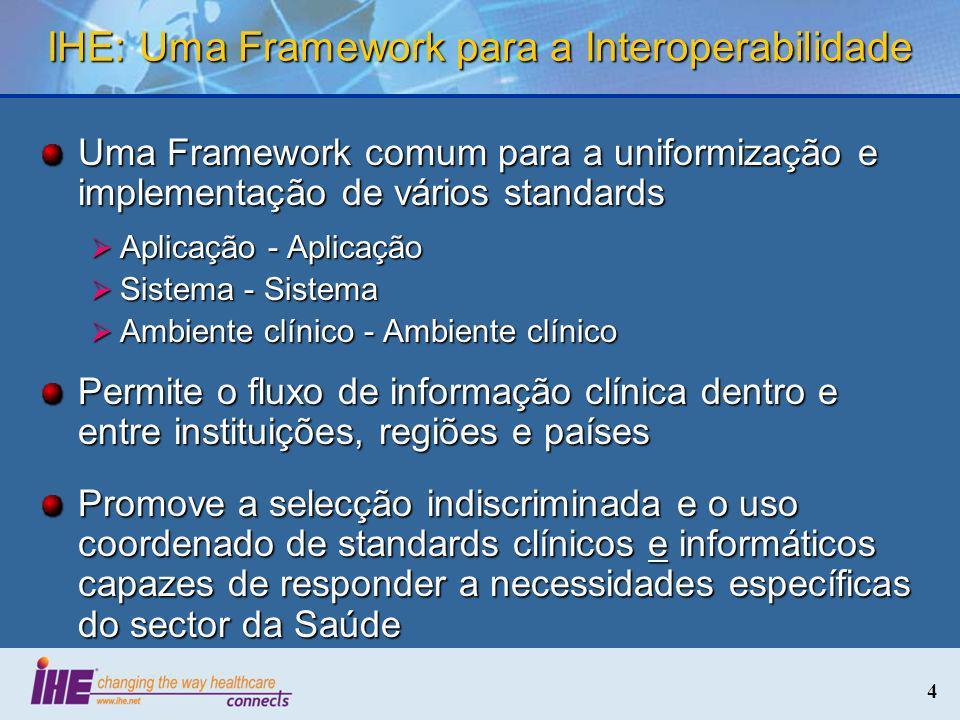 4 IHE: Uma Framework para a Interoperabilidade Uma Framework comum para a uniformização e implementação de vários standards Aplicação - Aplicação Apli