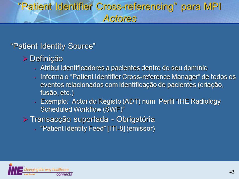 43 Patient Identifier Cross-referencing para MPI Actores Patient Identity Source Definição Definição Atribui identificadores a pacientes dentro do seu