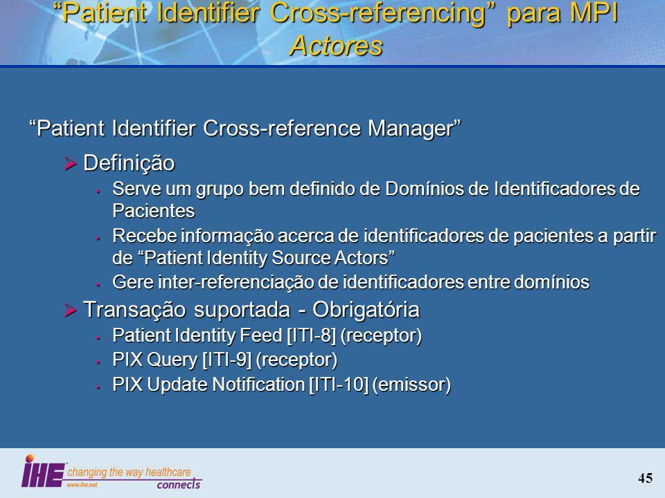45 Patient Identifier Cross-referencing para MPI Actores Patient Identifier Cross-reference Manager Definição Definição Serve um grupo bem definido de