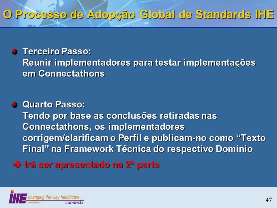 47 O Processo de Adopção Global de Standards IHE Terceiro Passo: Reunir implementadores para testar implementações em Connectathons Quarto Passo: Tend