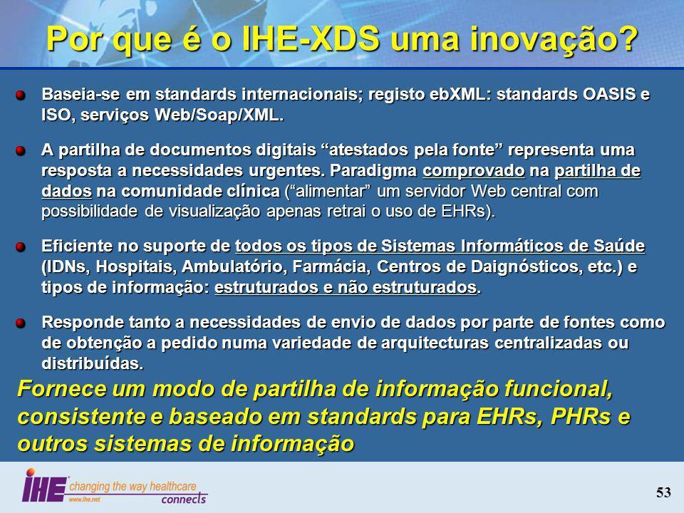 53 Por que é o IHE-XDS uma inovação? Baseia-se em standards internacionais; registo ebXML: standards OASIS e ISO, serviços Web/Soap/XML. A partilha de