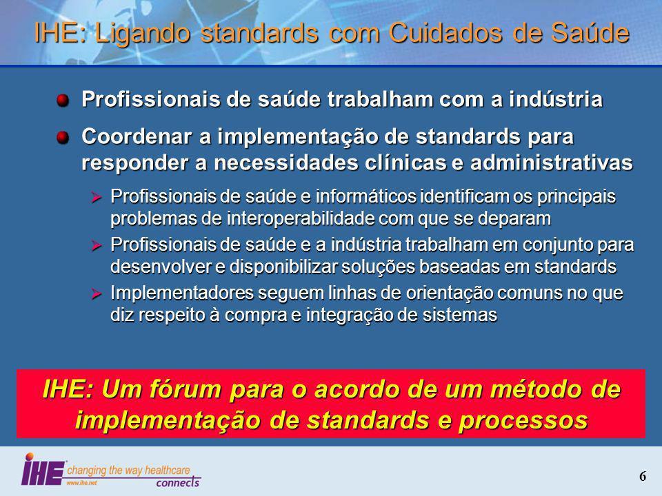6 IHE: Ligando standards com Cuidados de Saúde Profissionais de saúde trabalham com a indústria Coordenar a implementação de standards para responder