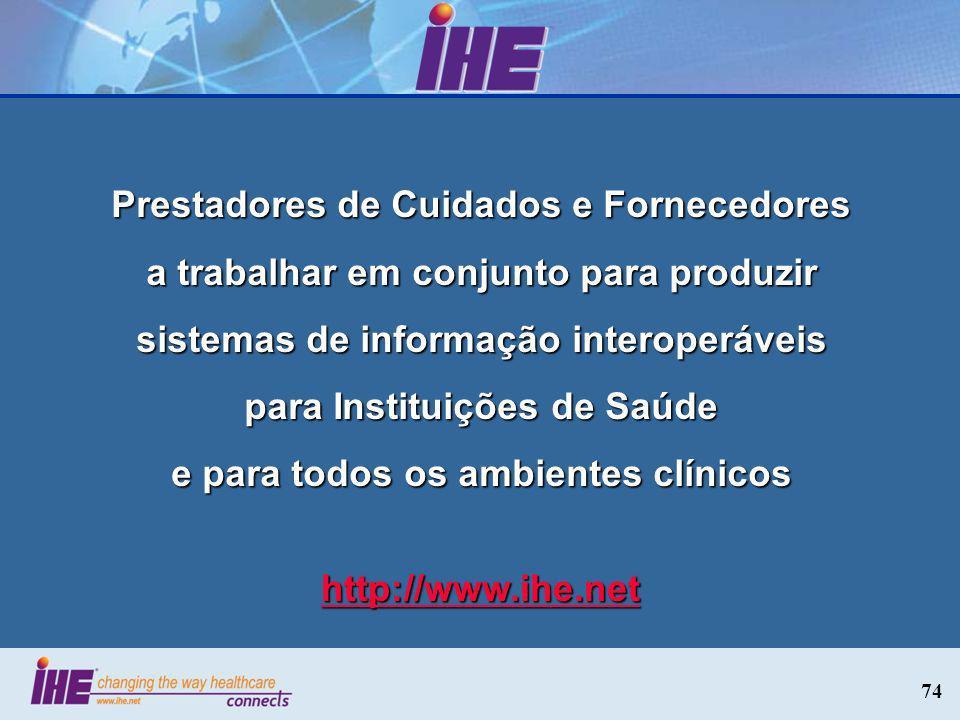 74 Prestadores de Cuidados e Fornecedores a trabalhar em conjunto para produzir sistemas de informação interoperáveis para Instituições de Saúde e par