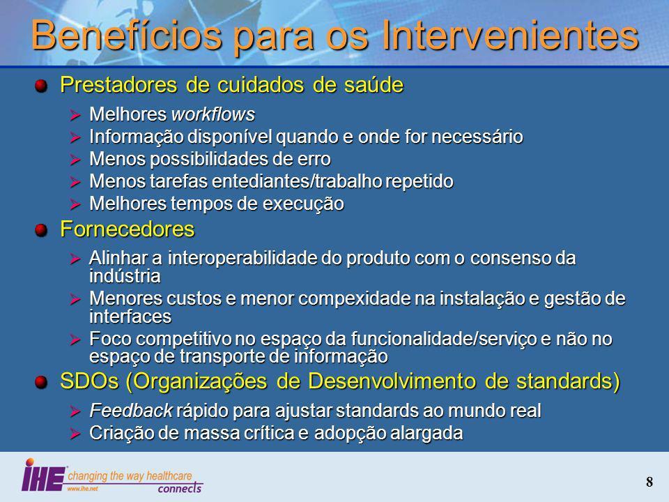 8 Benefícios para os Intervenientes Prestadores de cuidados de saúde Melhores workflows Melhores workflows Informação disponível quando e onde for nec