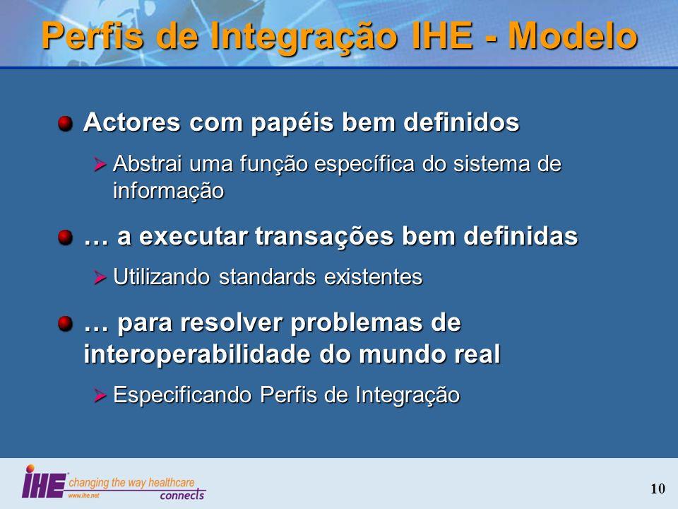 10 Perfis de Integração IHE - Modelo Actores com papéis bem definidos Abstrai uma função específica do sistema de informação Abstrai uma função especí