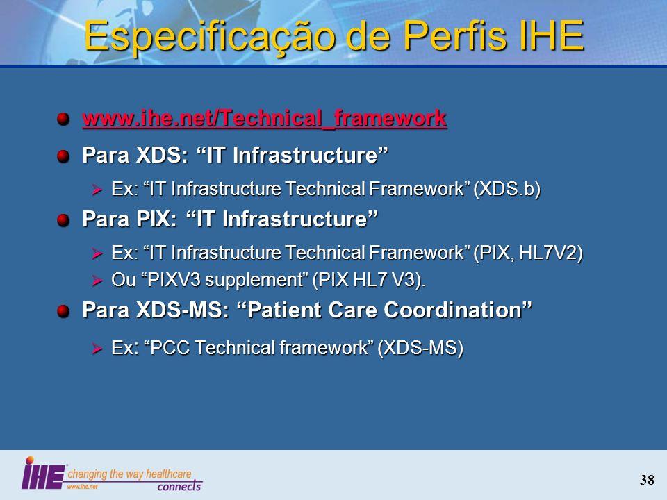 38 Especificação de Perfis IHE www.ihe.net/Technical_framework Para XDS: IT Infrastructure Ex: IT Infrastructure Technical Framework (XDS.b) Ex: IT In