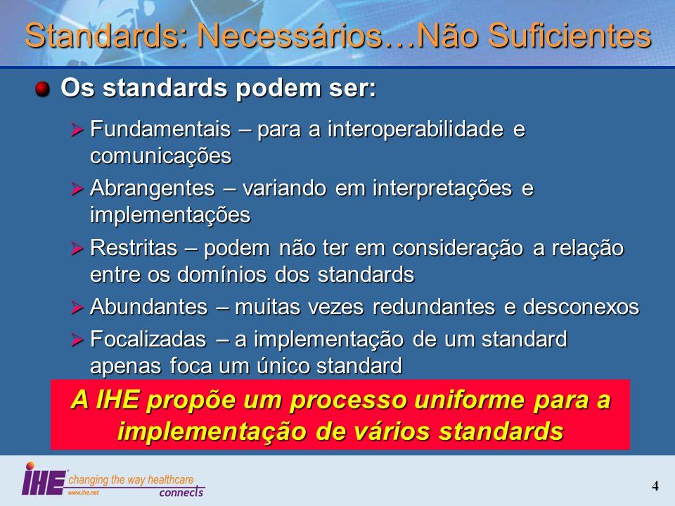 4 Standards: Necessários…Não Suficientes Os standards podem ser: Fundamentais – para a interoperabilidade e comunicações Fundamentais – para a interop