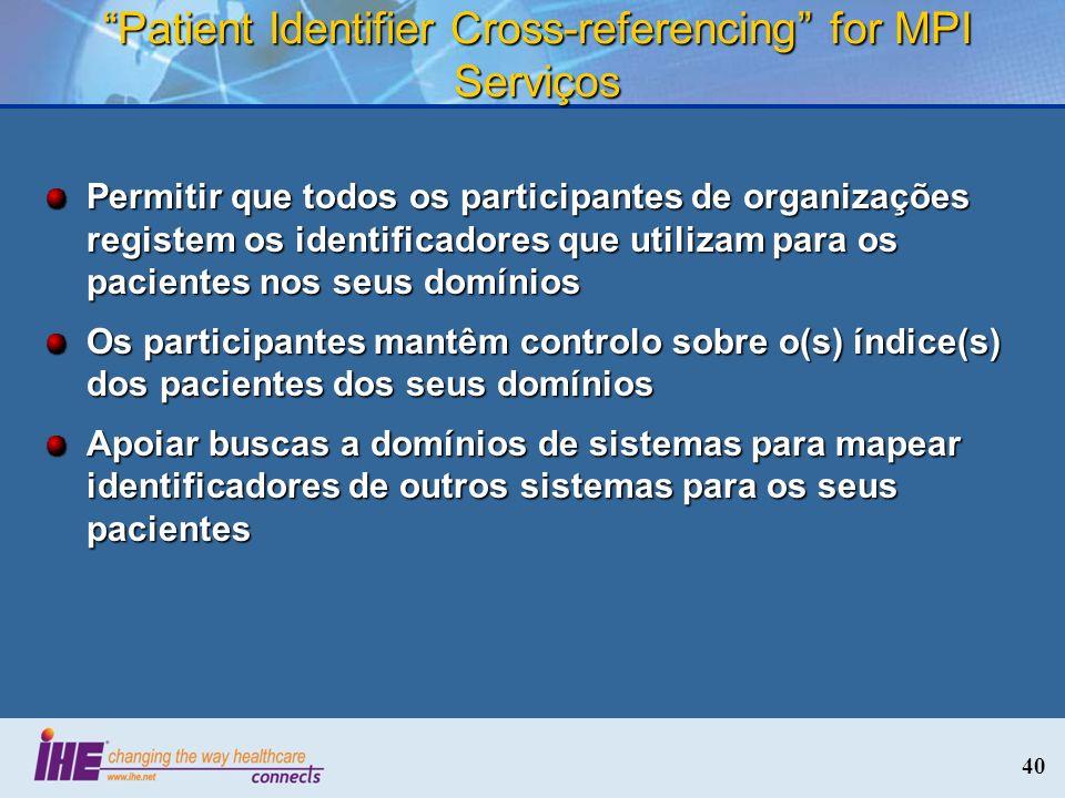 40 Patient Identifier Cross-referencing for MPI Serviços Permitir que todos os participantes de organizações registem os identificadores que utilizam