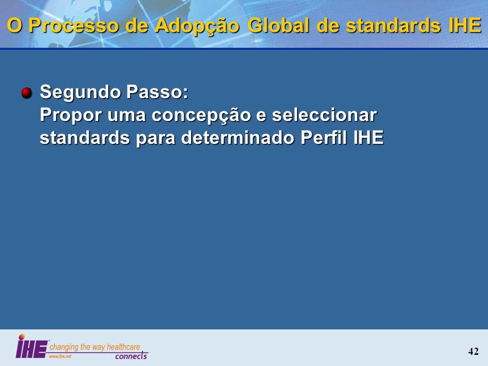 42 O Processo de Adopção Global de standards IHE Segundo Passo: Propor uma concepção e seleccionar standards para determinado Perfil IHE