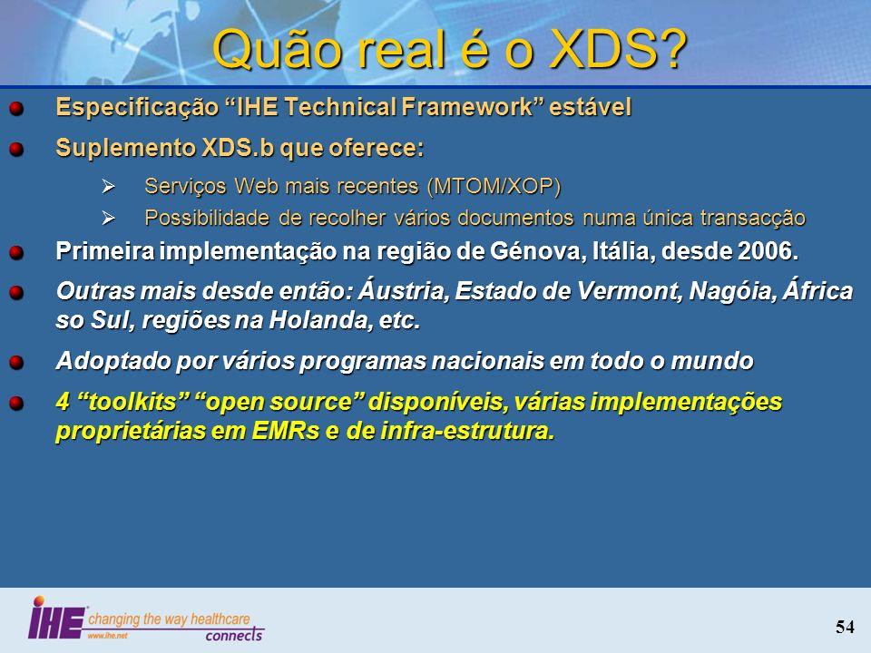 54 Quão real é o XDS? Especificação IHE Technical Framework estável Suplemento XDS.b que oferece: Serviços Web mais recentes (MTOM/XOP) Serviços Web m