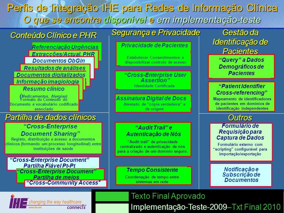 57 Perfis de Integração IHE para Redes de Informação Clínica O que se encontra disponível e em implementação-teste Referenciação Urgências Format of t
