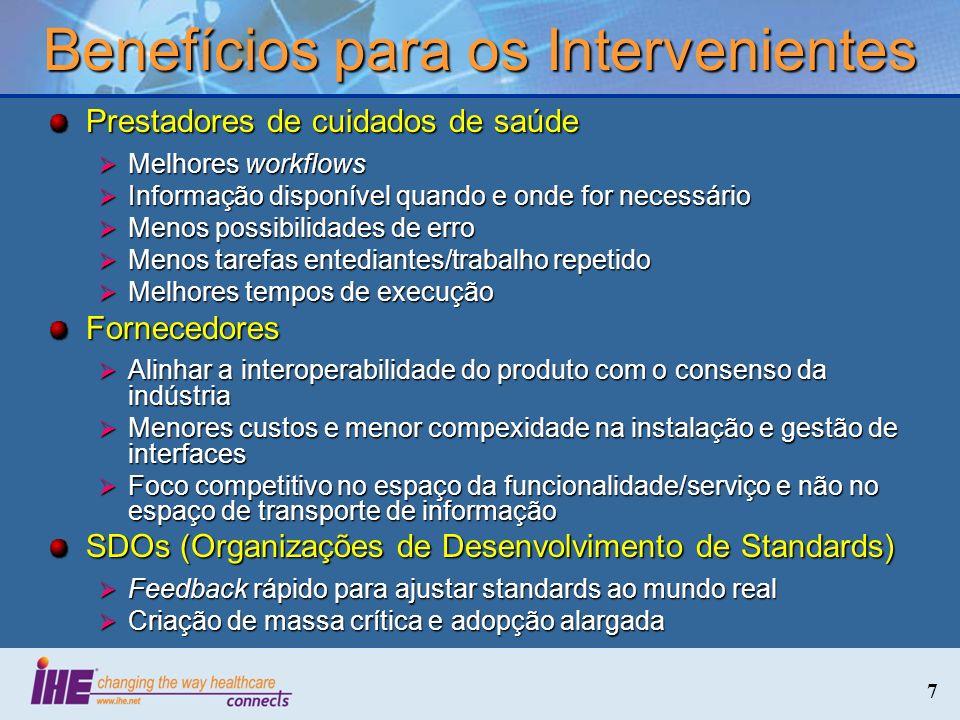7 Benefícios para os Intervenientes Prestadores de cuidados de saúde Melhores workflows Melhores workflows Informação disponível quando e onde for nec
