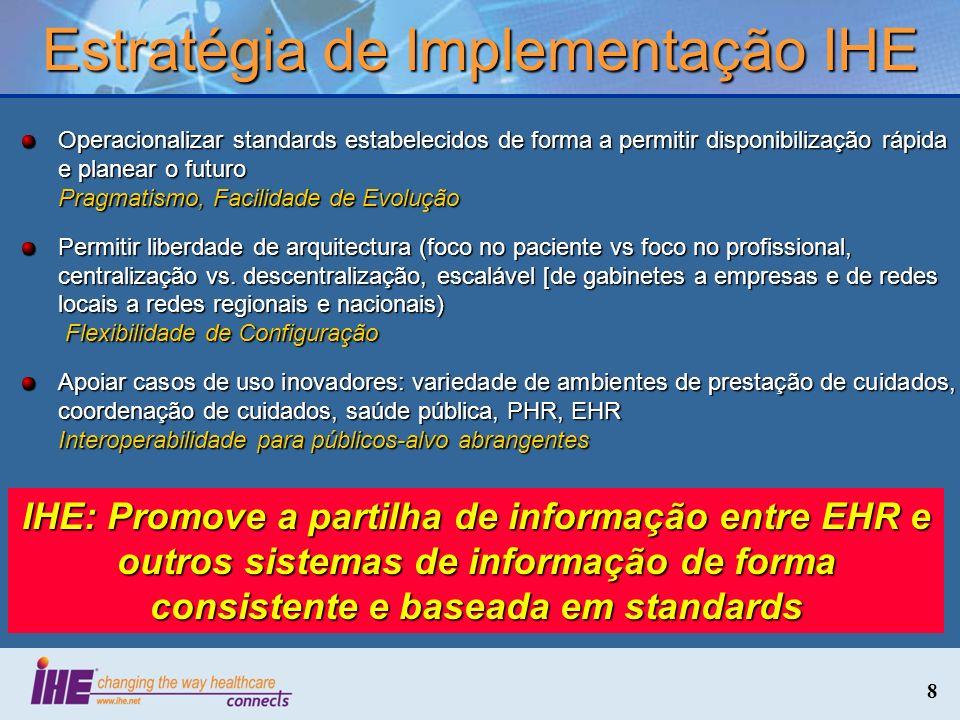 8 Estratégia de Implementação IHE Operacionalizar standards estabelecidos de forma a permitir disponibilização rápida e planear o futuro Pragmatismo,